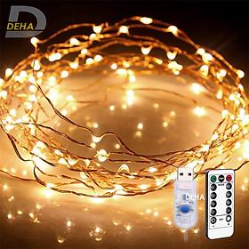 Dây đèn nháy Led đom đóm trang trí 20M/10M/5M/3M/2M Vàng nắng/ Nhiều màu/ Trắng nguồn USB Điều khiển từ xa chọn 8 chế độ, tăng giảm sáng, hẹn giờ, dây bóng đèn nháy cao cấp decor nhà cửa, lễ tết, lều trại du lịch cao cấp, bền đẹp, tinh tế, sang trọng - Chính hãng DEHA
