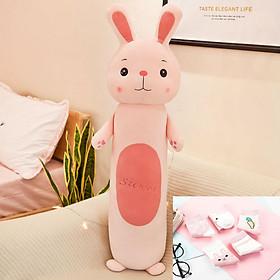 Gối Ôm Thú Nhồi Bông Cho Bé Loại Siêu Mềm Hình Thỏ Con Size 60cm Siêu Dễ Thương