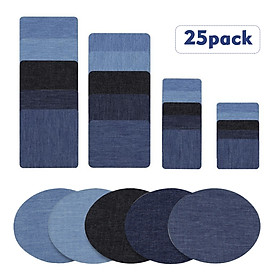 Premium Quality Denim Iron on Jean Patches No-Sew Shades of Blue Black 25 Pieces Assorted Cotton Jeans Repair Kit