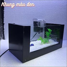 Bể cá mini KHUNG GỖ COMBO HỒ+ LỌC Tặng kèm phụ kiện trang trí