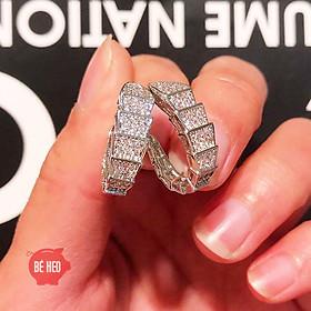 Bông tai bạc chữ C nạm đá zircon cao cấp - Tặng hộp - Trang sức Bé Heo BHBT453