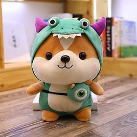 Gấu bông gối ôm chú chó Shiba Cosplay đáng yêu nghộ nghĩnh- Xanh lá