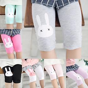 (Hàng đẹp video) Quần legging lửng quần thun lửng cotton quần ngố bé gái 2-8 tuổi chú thỏ chất siêu nhẹ mát