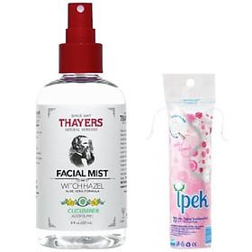 Nước Hoa Hồng Dạng Xịt không chứa cồn Thayers Toner Facial Mist Cucumber 237ml + Tặng kèm bông tẩy trang ipek 80 miếng