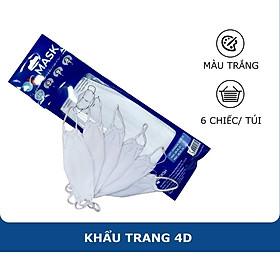 Khẩu Trang Y Tế 4D Ok Mask Màu Trắng, Theo Thiết Kế Kf94 Đạt Chuẩn Kháng Khuẩn Công Nghệ Nhật Bản 6 Chiếc/Túi