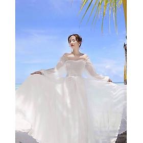 Đầm maxi trắng tay dài bo ngực