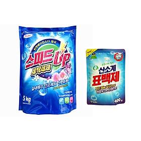 Bột giặt AZUMA SpeepUp hương gió biển 5kg tặng bột giặt phụ trợ tẩy vết bẩn khử khuẩn quần áo Hàn Quốc 400g