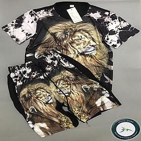 Thời trang nam mùa hè, bộ quần áo nam thun in 3D hình sư tử ( Ảnh và video thật)