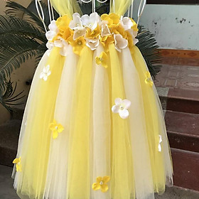Váy đầm cho bé ️Váy công chúa vàng phối trắng tú cầu 1-1 cho bé gái
