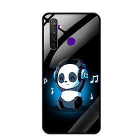 Ốp Lưng Kính Cường Lực cho Điện thoại Realme 5 Pro - 0334 PANDA05 - Hàng Chính Hãng