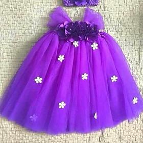 Đầm bé gái ️Đầm tím Huế hoa hồng tím nhí trắng cho bé gái 0 đến 6 tuổi