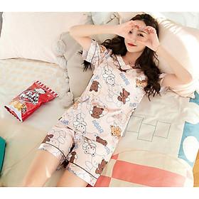 Đồ ngủ lụa satin cổ tim tay ngắn quần ngắn - Kem họa tiết gấu - LNV02