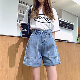 Quần Short Jeans Nữ Lưng Cao Phối Túi - 278