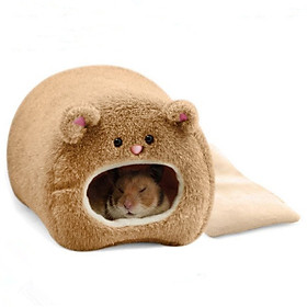 Hamster Winter Warm Cage Bear Shape Fleece House with Bed Mat for Small Pet