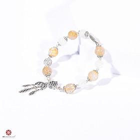Vòng tay đá thạch anh tóc vàng và đá mặt trăng phối charm bạc thái 925 - hợp mệnh Kim, Thủy - Chiêu tài lộc, phù trợ bình an | VietGemstones