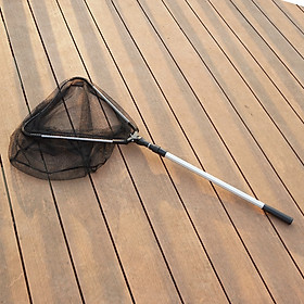 Vợt vớt cá thân nhôm dài 1m7 vành tam giác thu gọn 55cm, mắt lưới nhỏ, vớt được cả tôm, cá bống