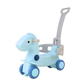 Ngựa bập bênh cho bé, có bánh xe và cần đẩy Toyshouse tặng xe trượt đà cho bé VBC-123-6 (ngẫu nhiên)