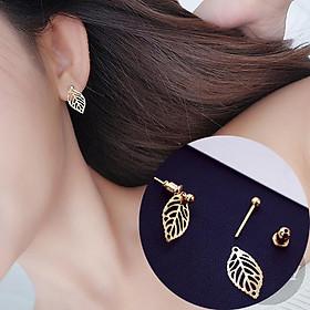 Bông tai nhỏ xinh hình lá nhiều mẫu màu vàng bạc cá tính năng động dành cho nữ - BT4K TASA khuyên tai bánh bèo