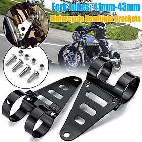 Universal Motorcycle Motorbike Headlight Mounting Bracket Adjuster Black 41-43mm