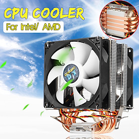 CPU Cooler Computer 2 Cooling Fan Radiator for LGA 775/1151/1155/1156/1366 AMD