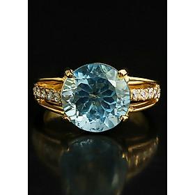 Nhẫn Vàng Nữ Đá Topaz Xanh Dai Hở Đá Senyda JewelryNHV071