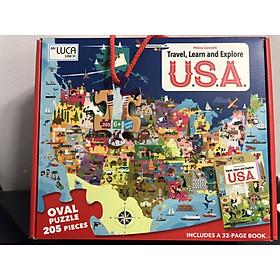 Bộ xếp hình 205 mảnh Khám Phá Nước Mỹ của hãng SASSI JUNIOR  USA Puzzle