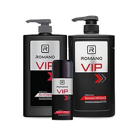 Combo Romano: Sữa tắm VIP 650gr + Dầu gội VIP 650gr + Xịt ngăn mùi toàn thân VIP 150ml