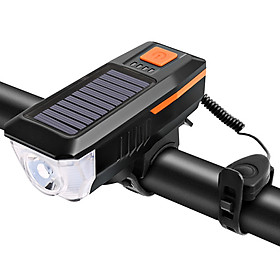 Solar / USB Charging Bike Light Bicycle Bell Horn Lamp Bike Flashlight Bike Front Light USB / Solar-Powered Rechargeable