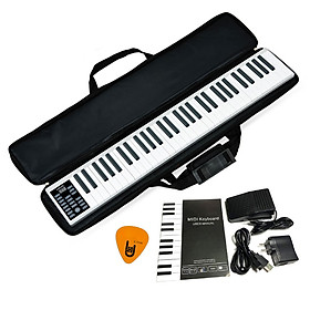 Đàn Piano Điện PZ61 Konix 61 phím cảm ứng lực Flexible PZ-61 - Midi Keyboard Controllers (Bàn Phím Bảng Pin sạc 1100mAh - Kèm Phần mềm, Hướng dẫn Tiếng Việt, Bao đựng, Pick)