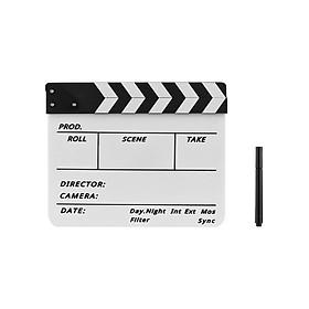 Bảng Clapboard Đóng Phim Kèm Bút Lông (Sọc Trắng Và Đen)