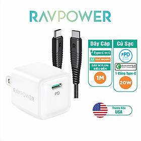 Combo Củ Sạc Nhanh iPhone iPad RAVPower RP-PC150 PD 20W Và Cáp Type C to C 60W 1m RP-CB047-B - Hàng Chính Hãng