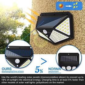 Đèn năng lượng mặt trời 100 LED - 3 chế độ sáng, Đèn Năng Lượng Mặt Trời Cảm Biến Chuyển Động Cảm Biến Chống Nước Đèn 3 Chế Độ dùng Ngoài Trời Sân Vườn