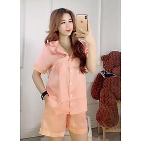 Đồ Bộ Ngủ Nữ Sét Đồ Pijama Mặc Nhà Chất Satin Lụa Phối Viền Tay Dễ Thương, Giặt Không Nhăn, Form Dưới 60kg Mặc Thoải Mái