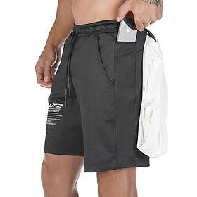 Quần đùi tập Gym nam vải thun thông hơi - túi có khóa - có túi hông để điện thoại - có khe gài áo thích hợp chơi thể thao, đá bóng, chạy bộ, tập Gym