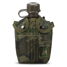 1L Outdoor Military Canteen Bottle Camping Hiking Backpacking Survival Water Bottle Kettle with Cover