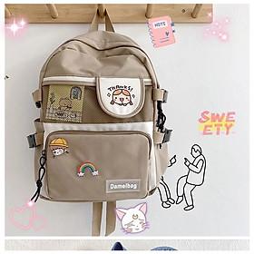 Balo vải chống thấm nước Balo nữ học sinh đi học laptop cặp kèm Sticker Thanks (không kèm gấu)
