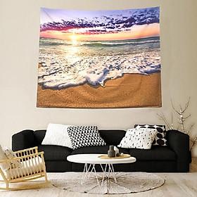 Tranh vải treo tường bãi biển hoàng hôn yên bình