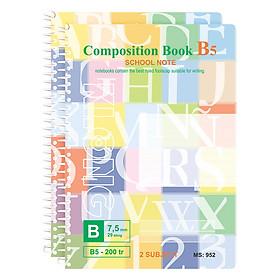 Lốc 2 Sổ Lò Xo Đơn Klong B5 MS 952 (200 Trang)