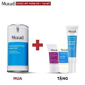Murad Clarifying Oil-Free Water Gel 47ml TẶNG Gel mụn Rapid Relief 15ml + AHA/BHA Cleanser 15ml + SRM Acne Control 15ml