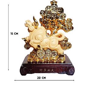 Tượng Chú Trâu Vàng Phú Quý Bên Cây Kim Tiền kích thước 20*15*9.5 Cm
