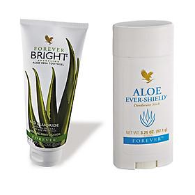 Combo Sáp khử mùi không chứa muối nhôm Aloe Ever – Shield (#067) và Kem Đánh Răng Lô Hội Forever Bright Toothgel (#028)