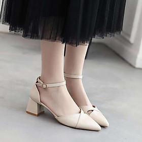 Giày cao gót nữ mũi nhọn đế vuông, sandal nữ thời trang gót cao 3p form chuẩn màu kem