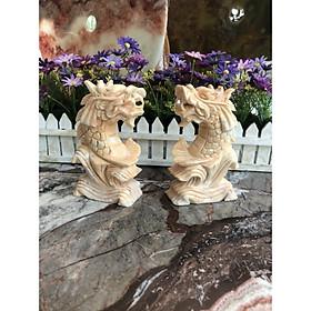 Cặp Cá Chép hóa Rồng phong thủy đá cẩm thạch vàng cà rốt - Cao 15 cm