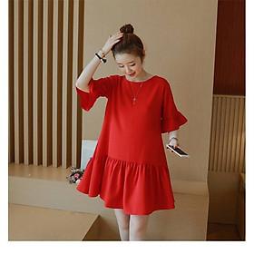 Váy Bầu Đuôi Cá Đỏ Cam Tay Loe