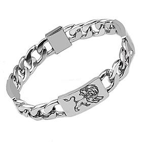 Lắc tay nam inox thời trang kiểu lặc cách điệu chạm sư tử trangsucpt màu trắng trangsucpt thép không gỉ PTLTNA107