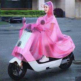 Áo mưa chấm bi nữ có kinh che mặt