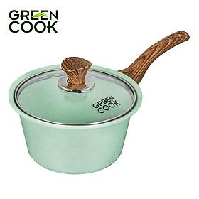 Nồi đúc men đá xanh ngọc 18 cm Green Cook GCS05-18IH công nghệ Hàn Quốc - Hàng chính hãng