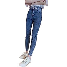 Quần jean nữ dài xinh xắn màu xanh