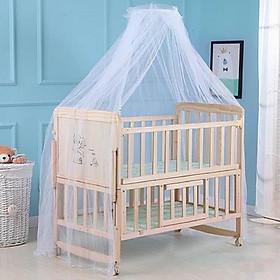 Giường cũi đa năng cho bé, cũi gỗ trẻ em 2 tầng, gỗ thông, có bánh xe, màn chống muỗi, ghép cạnh giường người lớn