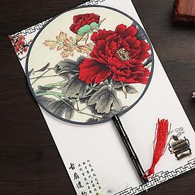 Quạt tròn cầm tay hoa mẫu đơn đỏ lá xám đen phong cách cổ trang Trung Quốc tặng ảnh Vcone